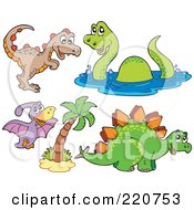 Royalty Free RF Clipart Illustration Of A Digital Collage Of Four Cute Dinosaurs