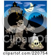 Royalty Free RF Clipart Illustration Of A Mummy And Tombstone Near A Haunted House With Bats In The Sky