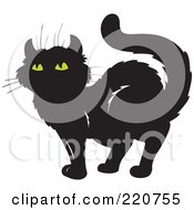 Royalty Free RF Clipart Illustration Of A Standing Black Cat With Yellow Eyes
