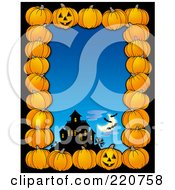Royalty Free RF Clipart Illustration Of A Halloween Border Of Pumpkins A Haunted House And Bats Over Blue
