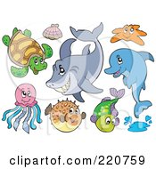 Royalty Free RF Clipart Illustration Of A Digital Collage Of Cute Sea Creatures by visekart