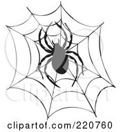 Royalty Free RF Clipart Illustration Of A Black Spider And Web Silhouette by visekart