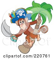 Royalty Free RF Clipart Illustration Of A Pirate Monkey Holding A Sword In A Palm Tree
