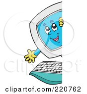 Royalty Free RF Clipart Illustration Of A Happy Computer Character Looking And Smiling Around A Blank Sign by visekart
