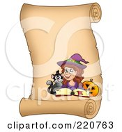 Royalty Free RF Clipart Illustration Of A Halloween Witch On A Vertical Parchment Scroll With A Spell Book Pumpkin And Cat by visekart