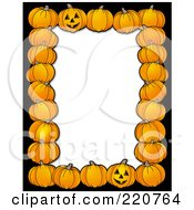 Royalty Free RF Clipart Illustration Of A Halloween Border Of Pumpkins Around White Space With A Black Border