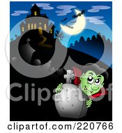 Royalty Free RF Clipart Illustration Of A Vampire Looking Over A Tombstone Near A Haunted House With Bats In The Sky