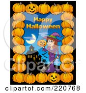 Happy Halloween Greeting With A Witch And Haunted House Bordered With Pumpkins