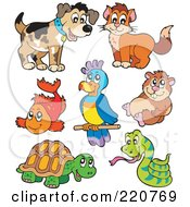Royalty Free RF Clipart Illustration Of A Digital Collage Of Cute Pet Animals by visekart