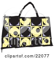 Clipart Picture Of A Fashionable Black Yellow And Purple Designer Handbag Purse With A Circle And Square Pattern by Steve Klinkel
