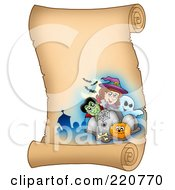 Royalty Free RF Clipart Illustration Of A Halloween Witch Vampire Ghost And Pumpkin On A Parchment Scroll