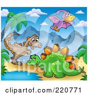 Royalty Free RF Clipart Illustration Of Three Cute Dinos In A Prehistoric Landscape