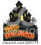 Royalty Free RF Clipart Illustration Of A Orange Happy Halloween Text Over A Haunted House On A Hill