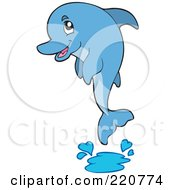 Royalty Free RF Clipart Illustration Of A Cute Blue Dolphin Leaping Out Of Water And Splashing
