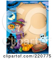 Royalty Free RF Clipart Illustration Of A Halloween Parchment Sign Bordered By A Witch Haunted House Pumpkins Coffin And Ghost