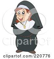 Happy Brunette Nun In Uniform Her Hands Behind Her Back