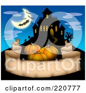 Royalty Free RF Clipart Illustration Of Three Pumpkins Over A Parchment Banner Near A Haunted House With Bats In The Sky by visekart