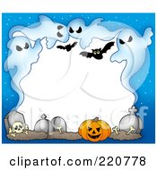 Royalty Free RF Clipart Illustration Of A Halloween Border Of Ghouls Bats Bones Tombstones And A Pumpkin With White Space
