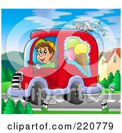 Royalty Free RF Clipart Illustration Of A Happy Ice Cream Truck Driver Playing Music And Driving by visekart