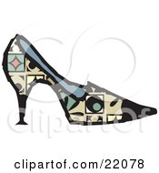 Clipart Picture Of A Womans Designer High Heel Pump Shoe With Green Red And Yellow Patterns by Steve Klinkel