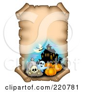 Royalty Free RF Clipart Illustration Of An Aged Halloween Parchment Sign With A Haunted House Cemetery Ghost Bats And Pumpkins