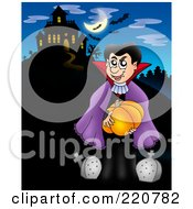 Royalty Free RF Clipart Illustration Of A Vampire Carrying A Pumpkin By Tombstones Near A Haunted House With Bats In The Sky
