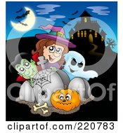 Royalty Free RF Clipart Illustration Of A Vapire Witch Ghost And Pumpkin By A Headstone Near A Haunted House With Bats In The Sky
