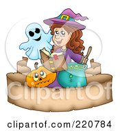 Royalty Free RF Clipart Illustration Of A Cute Halloween Witch And A Ghost Reading A Spell Book And Stirring A Potion Over A Parchment Banner