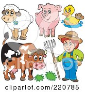 Royalty Free RF Clipart Illustration Of A Digital Collage Of A Farmer And His Livestock Animals