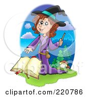 Royalty Free RF Clipart Illustration Of A Cute Halloween Witch Waving A Wand Over A Spell Book