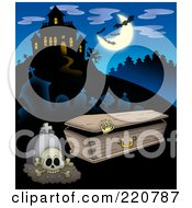 Royalty Free RF Clipart Illustration Of A Skeleton Emerging From A Coffin By A Tombstone Near A Haunted House With Bats In The Sky