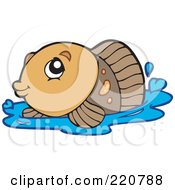 Royalty Free RF Clipart Illustration Of A Cute Brown Fish Surfacing On Water