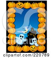 Royalty Free RF Clipart Illustration Of A Halloween Border Of Pumpkins A Haunted House And Ghosts Over Blue