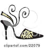 Womans Black High Heel Shoe With A Sandal Heel Strap And Black Vine Pattern Over Yellow