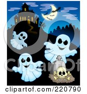 Royalty Free RF Clipart Illustration Of Three Ghosts Flying Near A Haunted House With Bats In The Sky by visekart