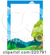Royalty Free RF Clipart Illustration Of A Frame Of Sky Mountains And Trees Around White Space
