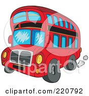 Royalty Free RF Clipart Illustration Of A Red Cartoon Double Decker Bus