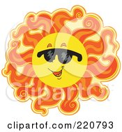 Royalty Free RF Clipart Illustration Of A Fiery Summer Sun Wearing Dark Shades