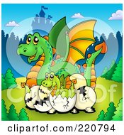 Royalty Free RF Clipart Illustration Of A Mother Dragon And Hatching Babies Near A Castle by visekart