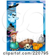Royalty Free RF Clipart Illustration Of A Halloween Frame Of A Witch With A Cauldron Coffin Pumpkins Ghost Haunted House And Ghosts