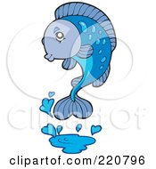 Royalty Free RF Clipart Illustration Of A Cute Blue Fish Leaping Out Of Water And Splashing