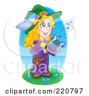 Royalty Free RF Clipart Illustration Of A Cute Halloween Witch Playing A Lyre