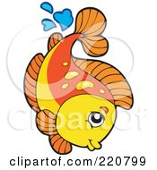 Royalty Free RF Clipart Illustration Of A Cute Orange And Yellow Fish Leaping Out Of Water And Splashing by visekart