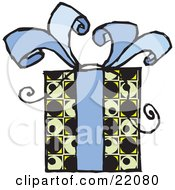 Clipart Picture Of A Present Gift Wrapped In A Yellow Green And Black Patterned Paper And A Blue Bow With Ribbon