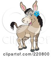 Royalty Free RF Clipart Illustration Of A Cute Female Donkey Wearing A Blue Flower By Her Ear by visekart