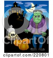 Royalty Free RF Clipart Illustration Of Frankenstein With Pumpkins And A Tombstone Near A Haunted House With Bats In The Sky