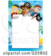 Royalty Free RF Clipart Illustration Of A Border Of Pirates And Palm Trees Around White Space