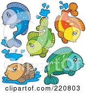Royalty Free RF Clipart Illustration Of A Digital Collage Of Cute Fresh Water Fish Leaping And Splashing
