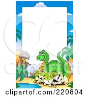 Royalty Free RF Clipart Illustration Of A Hatching Dinosaur And Volcano Frame With White Space