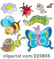 Royalty Free RF Clipart Illustration Of A Digital Collage Of Cute Insects by visekart
